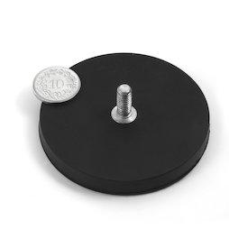GTNG-66, imán en recipiente de goma con vástago roscado, Ø 66 mm, rosca M8