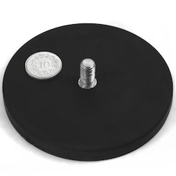 GTNG-88, gummierter Topfmagnet mit Gewindezapfen, Ø 88 mm, Gewinde M8