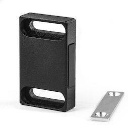 M-FURN-04/sideward, Magnetbeschlag breit für Möbel, aus Metall, mit Gegenplatte, Haftfläche seitlich