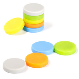 M-95, Magnets with silicone coat, adhesive on both sides, set of 10, assorted colours