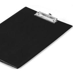 WS-WSF-03, Klembord zwart, met folieovertrek en doorzichtig hoesvak, A4-formaat, niet magnetisch!