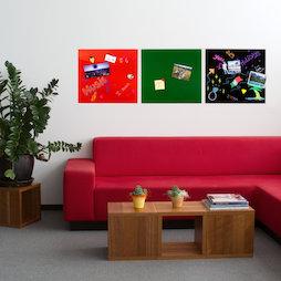 GMBB-4550, Glazen memobord vierkant, 45 x 50 cm, in verschillende kleuren