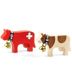 LIV-141, Trauffer houten koeien magnetisch, handgemaakte koelkastmagneten, 2 verschillende koeien verkrijgbaar