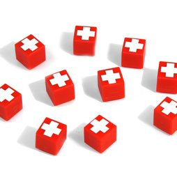 AG-01, Swiss Cube, aimants décoratifs rouges avec croix suisse