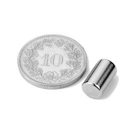 S-06-10-N, Stabmagnet Ø 6 mm, Höhe 10 mm, Neodym, N40, vernickelt
