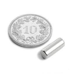 S-05-14-N, Rod magnet Ø 5 mm, height 13.96 mm, neodymium, N45, nickel-plated