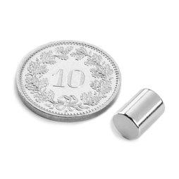 S-06-08-N, Cylindre magnétique Ø 6 mm, hauteur 8 mm, néodyme, N48, nickelé