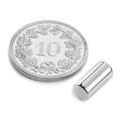 S-05-10-N, Staafmagneet Ø 5 mm, hoogte 10 mm, neodymium, N45, vernikkeld