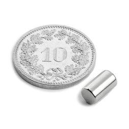 S-05-08-N, Cilindro magnetico Ø 5 mm, altezza 8.47 mm, neodimio, N45, nichelato