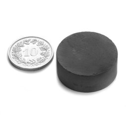 FE-S-25-10, Disco magnetico Ø 25 mm, altezza 10 mm, ferrite, Y35, senza rivestimento