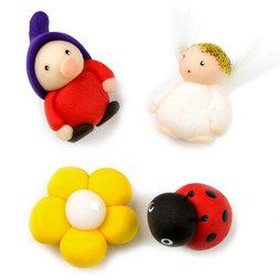 LIV-41/mixed2, Handmade Magnete, Unikate aus Fimo im 4er-Set, mit Zwerg, Engel, Blume und Käfer