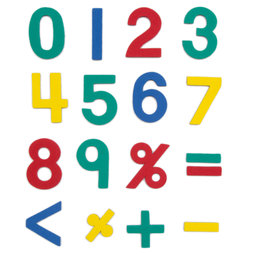 M-38/num, Magnetic numbers, approx. 100 numbers & operation symbols, made of EVA foam, 4 assorted colours