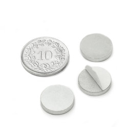 PAS-13, Metal disc self-adhesive, Ø 13 mm, as a counterpart to magnets, not a magnet!