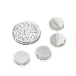 PAS-10, Metalen schijfje zelfklevend, Ø 10 mm, als tegenstuk voor magneten, geen magneet!