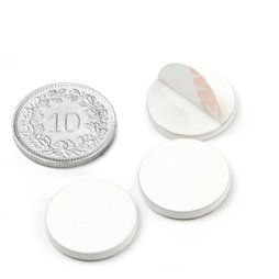 PAS-16-W, Metal disc self-adhesive, white, Ø 16 mm, as a counterpart to magnets, not a magnet!