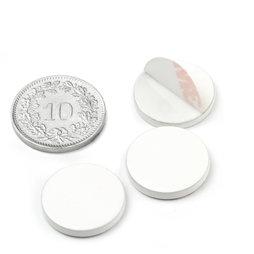 PAS-16-W, Metalen schijfje zelfklevend, wit, Ø 16 mm, als tegenstuk voor magneten, geen magneet!