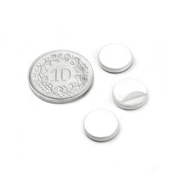 PAS-10-W, Disque métallique autocollant, blanc, Ø 10 mm, contre-pièce pour aimants, non magnétique !