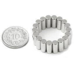 S-04-10-DN, Stabmagnet Ø 4 mm, Höhe 10 mm, Neodym, N45, vernickelt, diametral magnetisiert