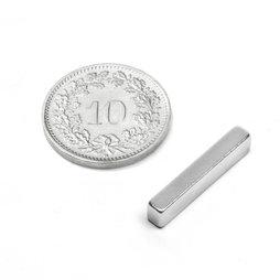 Q-20-04-03-N, Bloque magnético 20 x 4 x 3 mm, neodimio, N48, niquelado