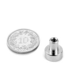 TCN-10, Topfmagnet mit Gewindebuchse, Ø 10 mm, Gewinde M3