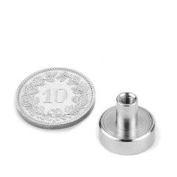 TCN-13, Aimant en pot avec manchon taraudé, Ø 13 mm, pas de vis M3