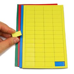 BA-012R, Magnetsymbole Rechteck klein, für Whiteboards & Planungstafeln, 56 Symbole pro Bogen, in verschiedenen Farben