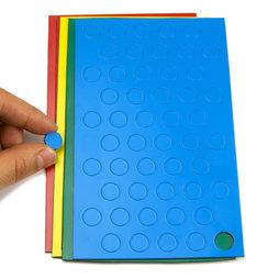 BA-012C, Symboles magnétiques rond petit, pour tableaux blancs & tableaux de planning, 50 symboles par feuille, dans différentes couleurs