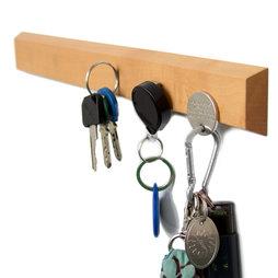 FO-3, Sleutelbord magnetisch 32 cm, magneetstrip, van perenhout, voor 6 sleutels